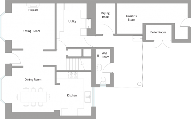 Cornwall Holiday Cottage Ground Floor Plan
