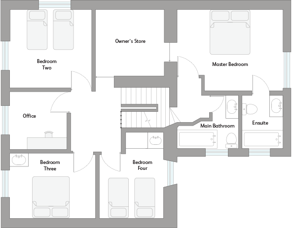 Cornwall Holiday Cottage First Floor Plan